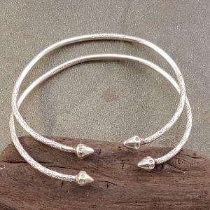 Sterling Silver Jamaican Made Bangle Bracelet Set